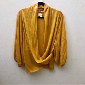 Anthropologie Moth yellow gold drape wrap cardigan